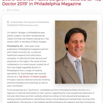 """Philadelphia Plastic Surgeon Honored as """"Top Doctor 2019"""" By Regional Publication"""