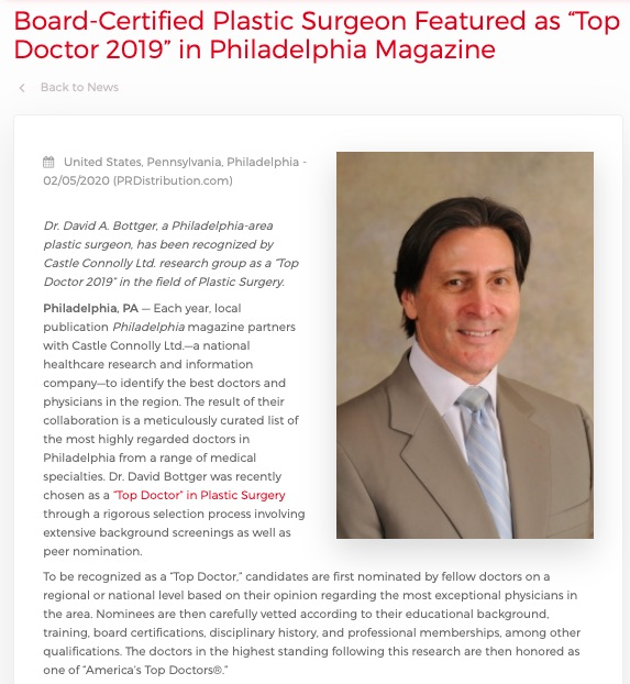 "Philadelphia Plastic Surgeon Honored as ""Top Doctor 2019"" By Regional Publication"