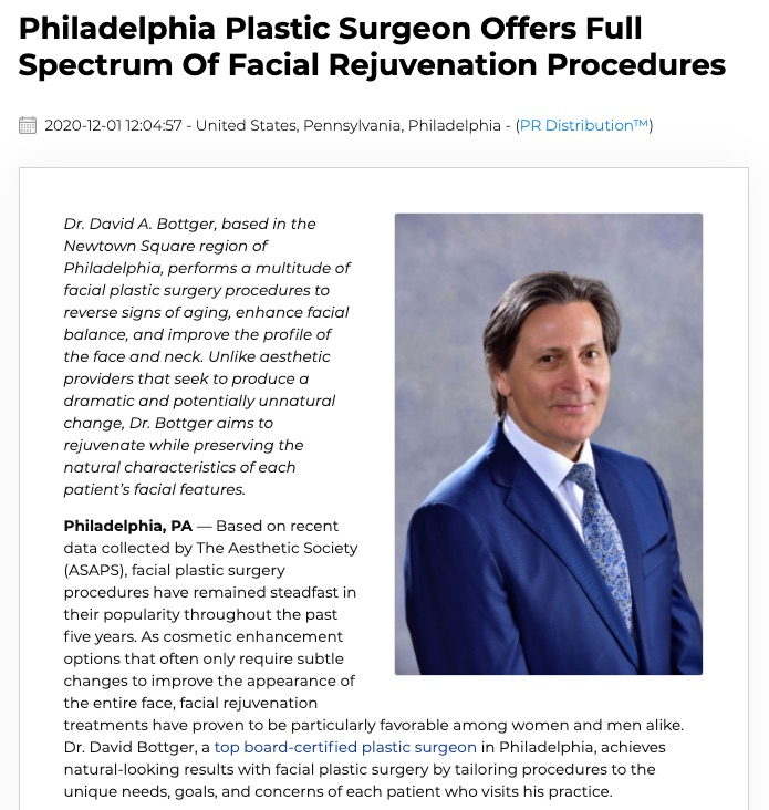 Philadelphia Plastic Surgeon Offers an Array of Cosmetic Facial Procedures