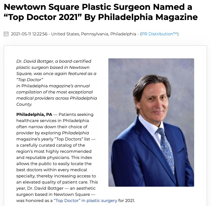 Plastic Surgeon David Bottger, MD Recognized as Top Doctor 2021